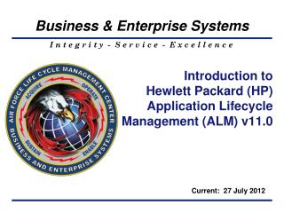 Introduction to  Hewlett Packard (HP) Application Lifecycle Management (ALM) v11.0