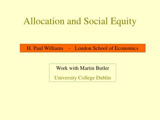 Allocation and Social Equity