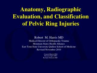 Anatomy, Radiographic Evaluation, and Classification of Pelvic Ring Injuries