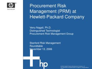 Procurement Risk Management (PRM) at Hewlett-Packard Company