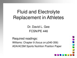 Fluid and Electrolyte Replacement in Athletes
