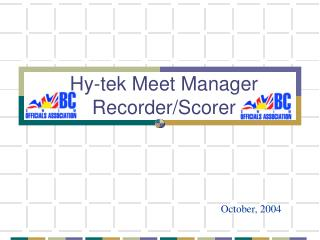 Hy-tek Meet Manager Recorder/Scorer