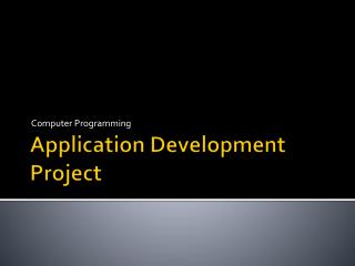 Application Development Project