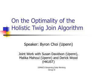 On the Optimality of the Holistic Twig Join Algorithm
