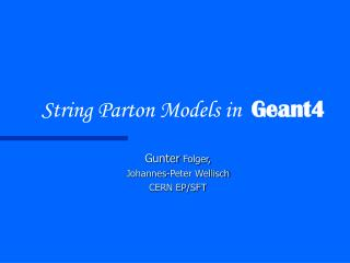 String Parton Models in   Geant4