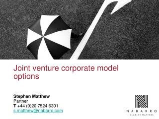 Joint venture corporate model options