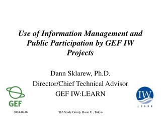 Use of Information Management and Public Participation by GEF IW Projects