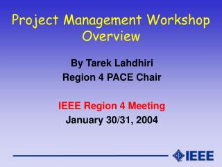 Project Management Workshop Overview