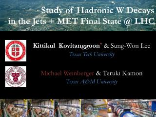 Study of Hadronic W Decays  in the Jets + MET Final State @ LHC
