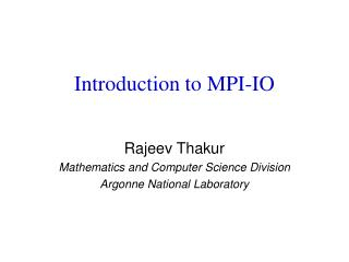 Introduction to MPI-IO