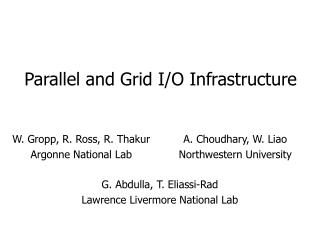 Parallel and Grid I/O Infrastructure