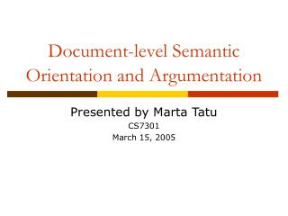 Document-level Semantic Orientation and Argumentation