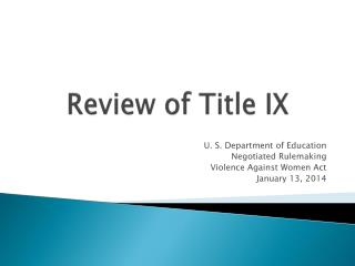 Review of Title IX