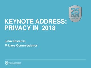 Keynote ADDRESS: Privacy in 2018