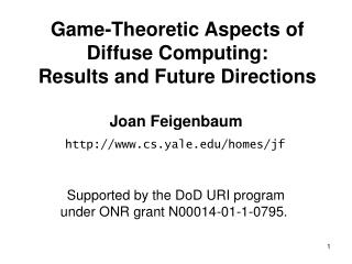 Game-Theoretic Aspects of Diffuse Computing: Results and Future Directions