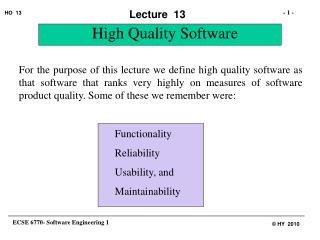 High Quality Software