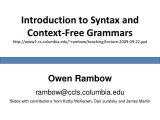 Owen Rambow rambow@ccls.columbia