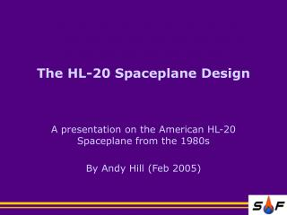 The HL-20 Spaceplane Design