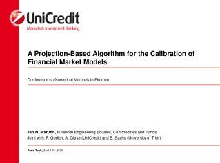A Projection-Based Algorithm for the Calibration of Financial Market Models