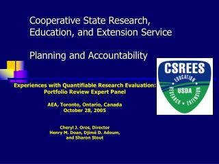 Cooperative State Research, Education, and Extension Service Planning and Accountability