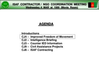 ISAF  CONTRACTOR /  NGO  COORDINATION  MEETING
