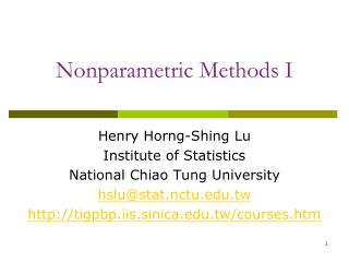 Nonparametric Methods I