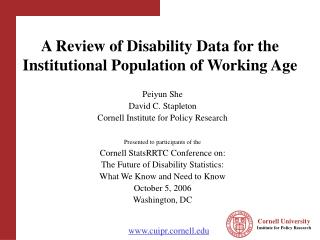 A Review of Disability Data for the Institutional Population of Working Age