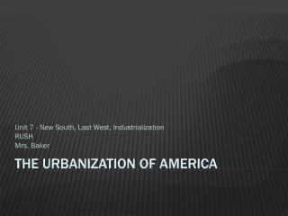 The Urbanization of America
