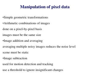 Manipulation of pixel data