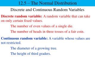 Discrete and Continuous Random Variables