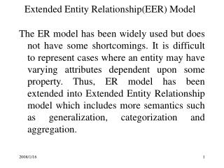 Extended Entity RelationshipEER Model