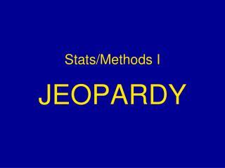 Stats/Methods I