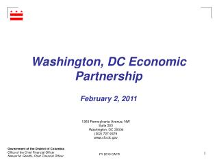 Washington, DC Economic Partnership February 2, 2011
