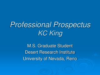 Professional Prospectus KC King