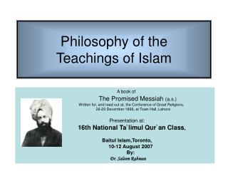 Philosophy of the  Teachings of Islam
