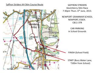 Saffron Striders KH 5Km Course Route