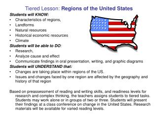 Tiered Lesson:  Regions of the United States