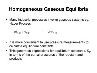 Homogeneous Gaseous Equilibria