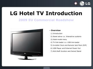 LG Hotel TV Introduction 2009 EU Commercial Roadshow