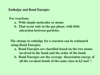 Enthalpy and Bond Energies