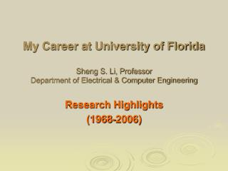 Research Highlights (1968-2006)