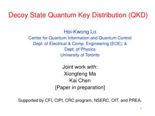 Decoy State Quantum Key Distribution (QKD)