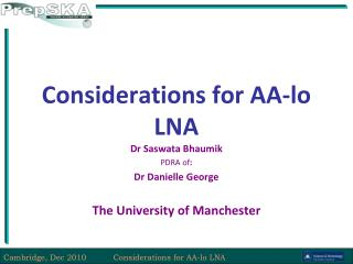 Considerations for AA-lo LNA