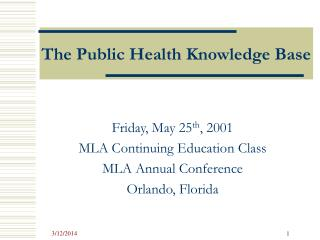 The Public Health Knowledge Base