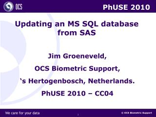 Updating an MS SQL database from SAS
