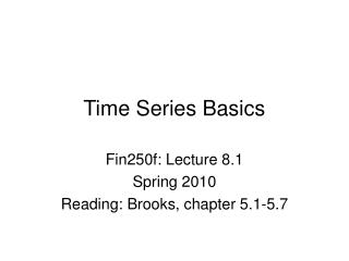 Time Series Basics