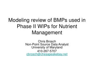 Modeling review of BMPs used in Phase II WIPs for Nutrient Management