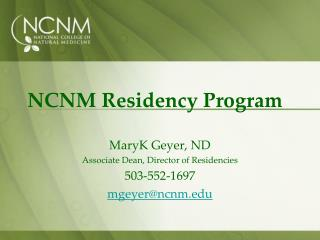 NCNM Residency Program