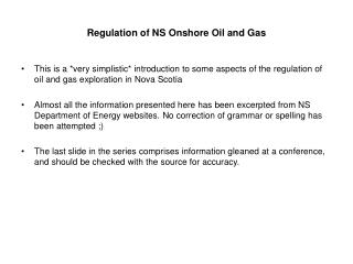 Regulation of NS Onshore Oil and Gas