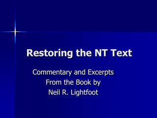 Restoring the NT Text